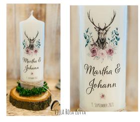 Hochzeitskerze Traukerze Hirsch *Martha* Blumen & Eukalyptus & Oliven Zweige Pfingstrosen watercolor Jute Rustikal
