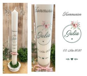 Taufkerze Kommunionkerze Konfirmationskerze Blumenkranz *Julia* watercolor handlettering Blumen