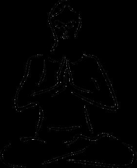 Silhouette einer meditierenden Frau
