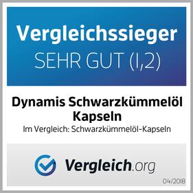BIO Schwarzkümmelöl Kapseln + E von Firma Dynamis Gesundheitsprodukte GmbH. Hergestellt in Deutschland aus ägyptischem kaltgepressten Öl. Vergleichssieger 2018 bei vergleich.org