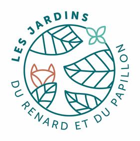 Logo des Jardins du renard et du papillon : une jeune pousse, un papillon et un renard imbriqués.