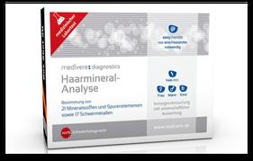 Haarmineral-Analyse-Testbox zur Prüfung einer möglichen Schwermetall-Belastung. (© medivere.de)