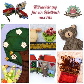 Teddy Spielhaus Anleitung nähen aus Filz Quiet book