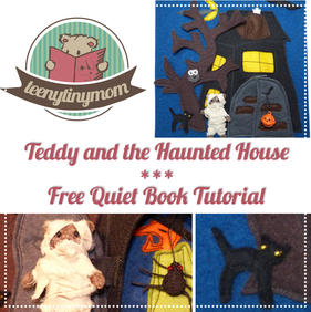 Teddy and the haunted house quiet book tutorial free pattern
