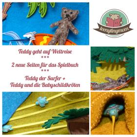 Quiet book Spielbuch Teddy der Surfer und bei den Babyschildkröten