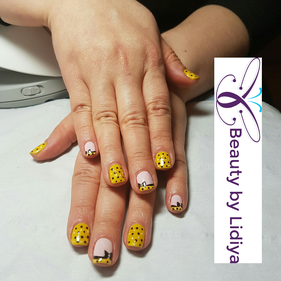 pink and yellow bows nail art hand made cnd shellac unique