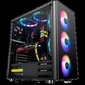 Offenes Gaming PC Gehäuse mit vielen bunten RGB Lüftern und hochwertigen Komponenten