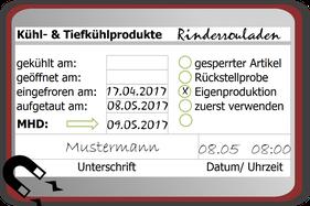Kühlhausbeschriftung mit MHD