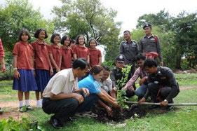 村人も一緒に植林に参加しています