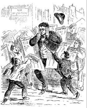 Les Crieurs de Journaux, gravure du XIXe siècle, de la forte présence des historiens des médias de nos jours à la part de plus en plus importante d'étudiants qui choisissent une carrière de journalistes au grands malheur de certains historiens.