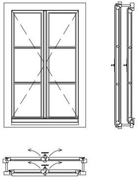 Kastenfenster Kranz , Rahmenpfostenfenster, Schnitt, Doppelfenster, box type windows