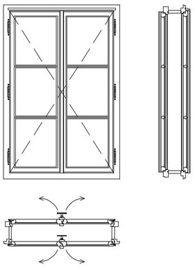 Pfostenfenster, Kastenfenster Kranz , Doppelfenster, box type windows