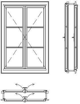 Kastenfenster Kranz , Pfostenfenster mit Gaißfuß, Schnittzeichnung, Doppelfenster, box type windows