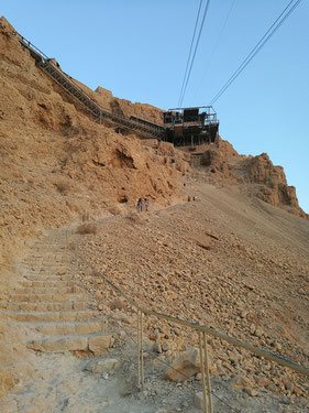 Masada's Snake Path and a cable car