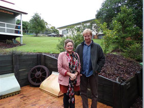 Dr Sue Campin and Andrew Webb from WD Architects in front of the site of the new building mid 2014