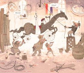 Konstruktion französisches Velocipede, aus dem Bilderbuch von Uwe Mayer, Die Laufmaschine, ISBN 9783000614651