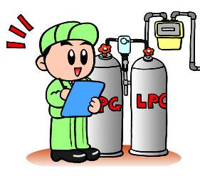LPガス供給設備の点検をするサービスマンのイラスト