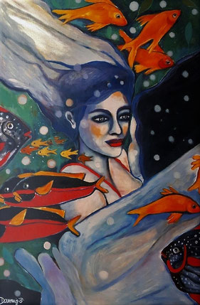 Mermaids floating with Fishes. Print overpainted and signed. 120x80x2cm.