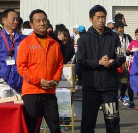 村岡知事と立石選手