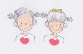 子どもの本/双子の子どもの挿絵・イラスト
