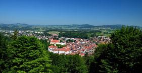 Füssen , Allgäu , Alpen , Bayern , Hohes Schloss Füssen , Panorama , Blau , Himmel , Berge , Deutschland , Castle , Germany ,