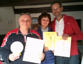 v.l. Sieger der Kristallkugel Helmut, Petra (3.) und Ralf (2.)