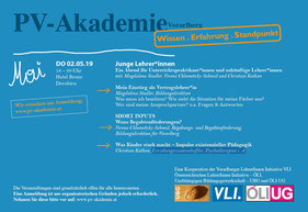 Eine Veranstaltung der VLI, UBG und ÖLI-UG mit der PV-Akademie: Junge lehrer*innen  Bild: Folder
