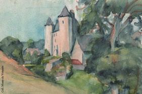 L'artiste Simone Fonfreide a réalisé de nombreuses aquarelles parmi lesquelles le château de Sénezergues.