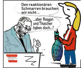 Lassnig: Diese Art der Politik, die stark auf Testungen aufbaue und diese mit traditionellen Methoden verbinde, sei in den 1980er Jahren unter Ronald Reagan bzw. Margaret Thatcher begonnen worden  Bilg:spagra