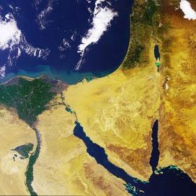 Fotografía de Israel desde satélite