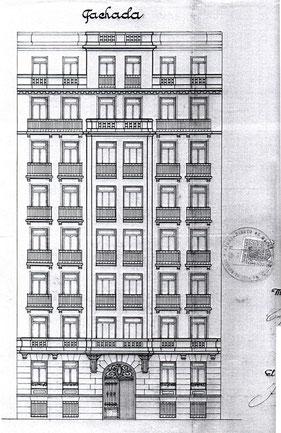 Alzado de edificio del Archivo de La Villa de Madrid