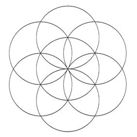 """sogenannte """"Saat des Lebens"""", zweidimensionale Darstellung von sieben ineinandergreifenden Sphären."""
