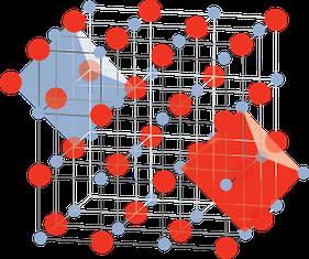 Kristalline Struktur von Kochsalz (Natriumchlorid) – schematische Darstellung