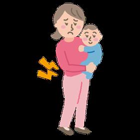 赤ちゃんの抱っこで腰痛が悪化します。