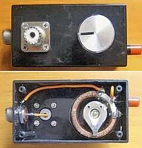 Внешний вид коробки-основания антенны с переменной индуктивностью L4 и ВЧ разъемами