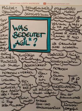 """Die Bandbreite der Interpretation des Begriffs """"agil"""" ist immens, wie diese Workshop-Ergebnisse der Techniker Krankenkasse zeigen."""