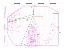Abb.9: Mit dem hypothetischen Raster übereinstimmende Strukturen im Grabungsplan.