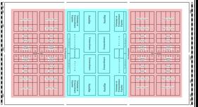 Abb.7: Voneinander abgegrenzte Bereiche der Kampftruppen(rot) und der Frührung(blau) im Lager des Polybios