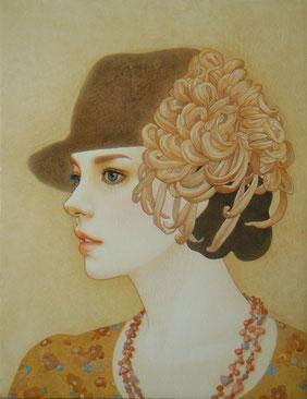 「ひかりになれたら」雲肌麻紙に岩絵具、水干絵具・墨・顔彩 F6