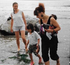 Frau Baby Tragetuch Rücken Kanga Strand
