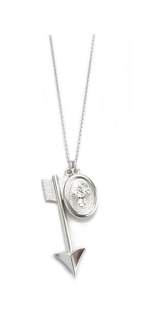 Silberkette mit Pfeil und Amor Anhänger
