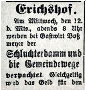 12.4.1922 SZ:  ... oder es werden Landstücke verpachtet