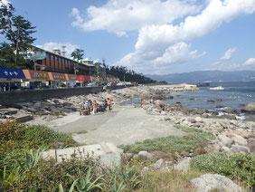 初島のビーチの写真です。海鮮の食事処が立ち並び、リゾートの雰囲気です。