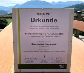 Urkund für den Energiezukunftspreis  vom Berggasthof Hummelei