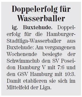 Doppelerfolg für Wasserballer. Neue Buxtehuder Wochenblatt vom 17.08.2013