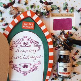 paper break lettrage creatif hand lettering encre herbin larmes de cassis happy holidays