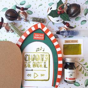 paper break lettrage creatif hand lettering encre vert olive herbin chants de noel