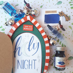 paper break lettrage creatif hand lettering encre herbin bleu nuit holy night