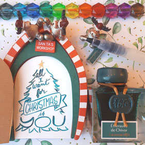 paper break lettrage creatif hand lettering encre verte emeraude chivor jacques herbin all i want for christmas is you