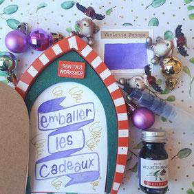 paper break lettrage creatif hand lettering encre herbin violette pensée emballer les cadeaux